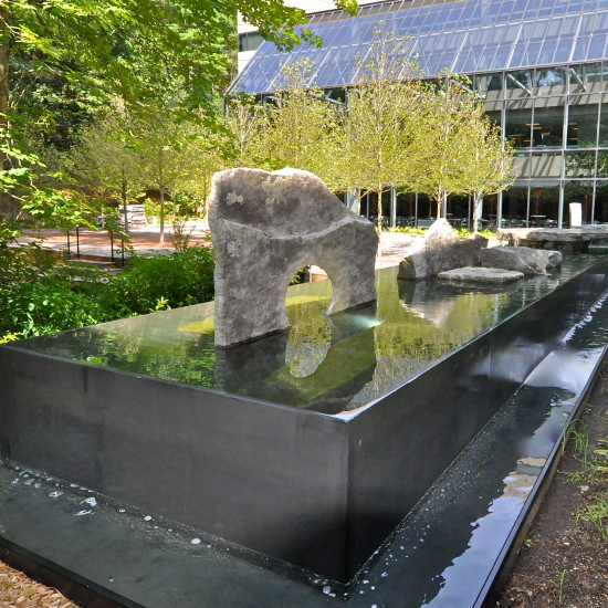 Negative edge water feature: Oracle: Bedford MA. Design by Thomas Wirth Associates. Architectural Stones by Lew French.