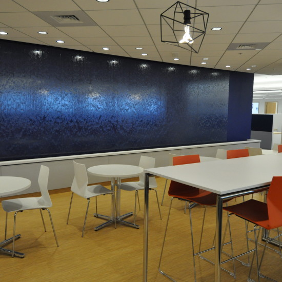 Glass water wall, NetBrain Technologies, Burlington, MA.