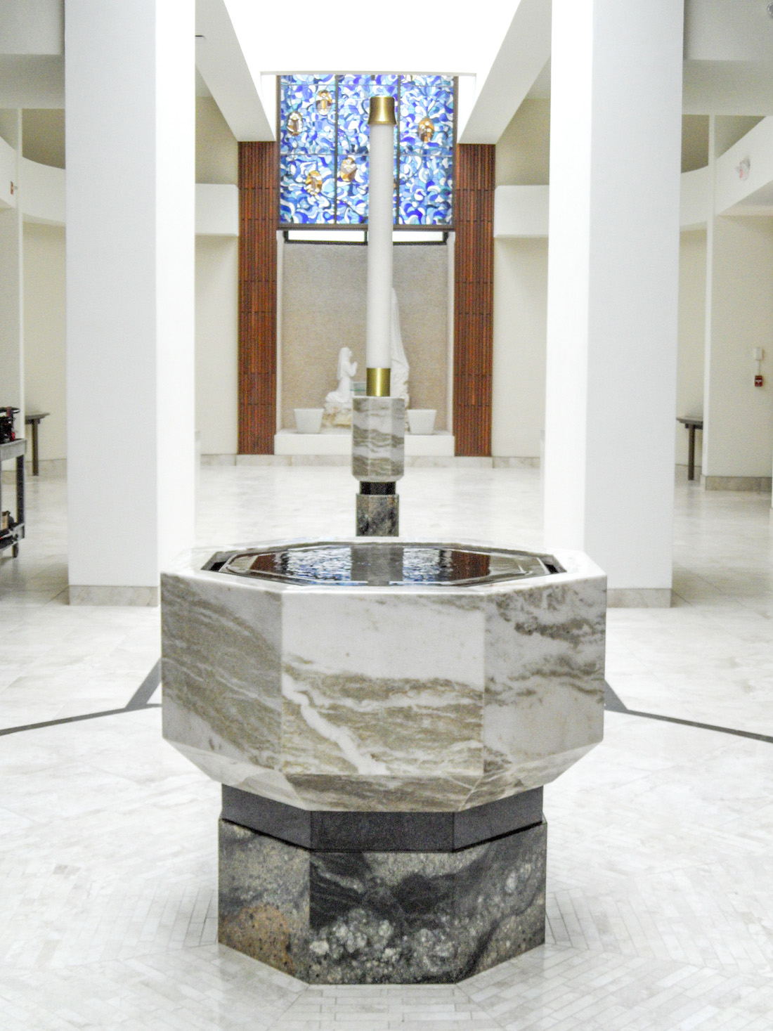 Negative Edge Baptismal Font, Our Lady of Lourdes, Dunedin, FL