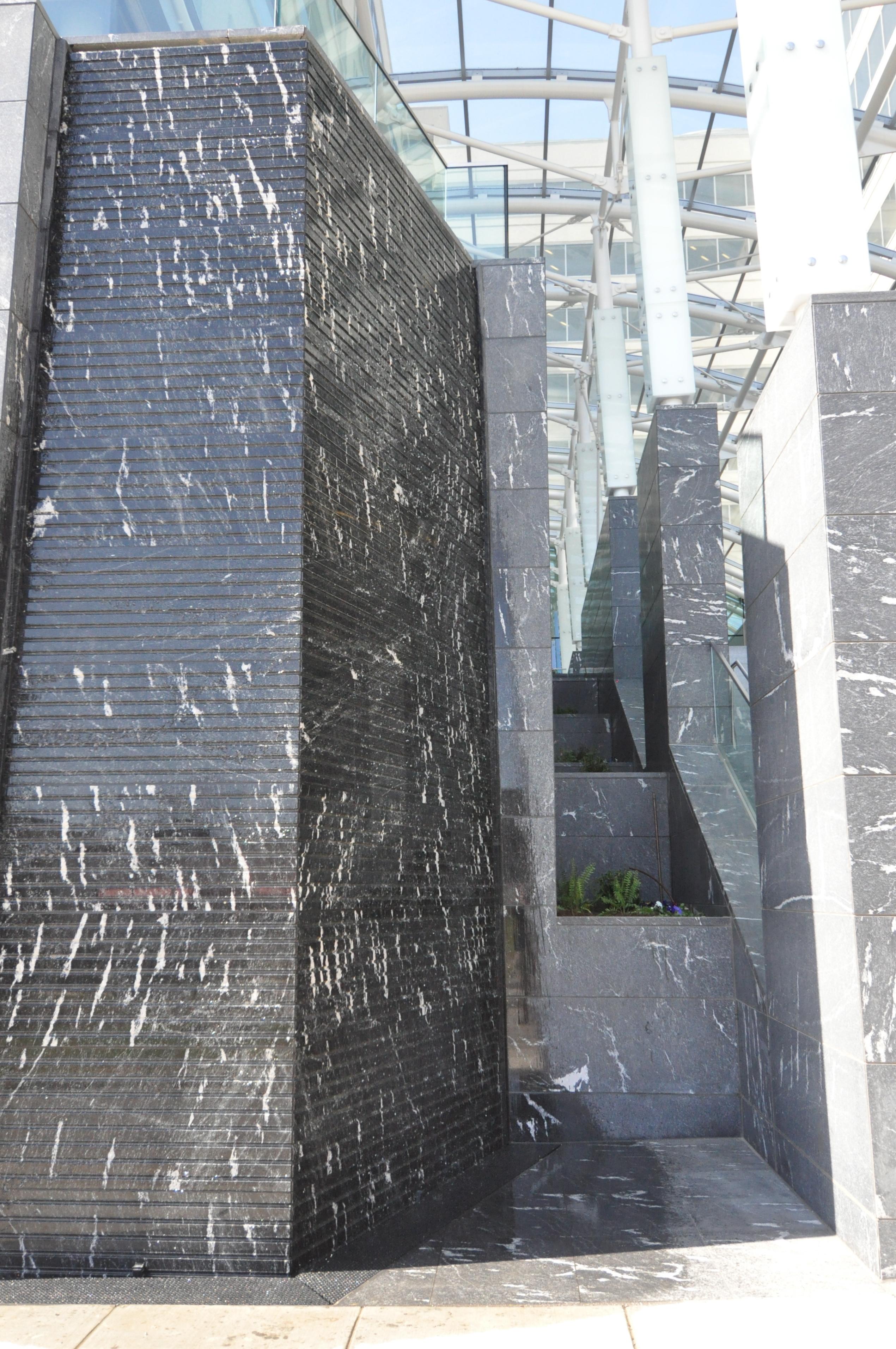 23ft Tall Cut Granite Water Wall, Greensboro Station, McLean, VA.