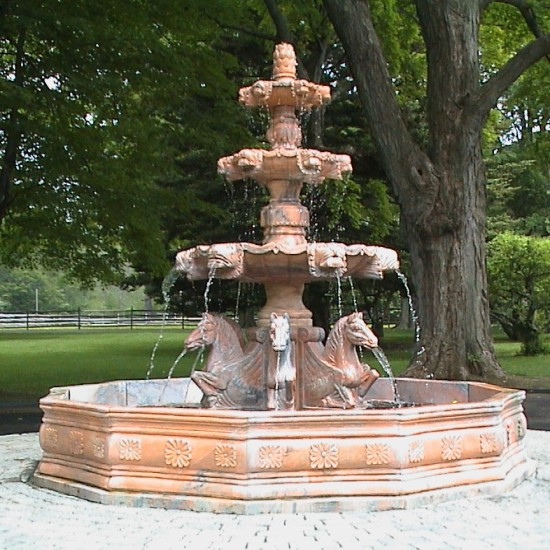 Classical Carved Marble Fountain, Private Residence, Hamilton, MA.