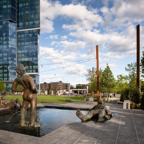 Outdoor Fountain Pool with Nicole Eisenman Bronze Sculptures, Landmark Center, Boston, MA. Park Design By Leblanc Jones Landscape Architects.